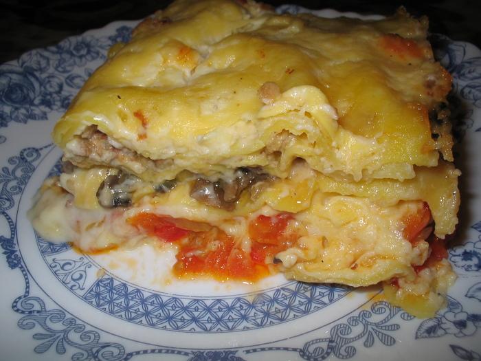 Лазанья с фаршем и грибами пошаговый рецепт